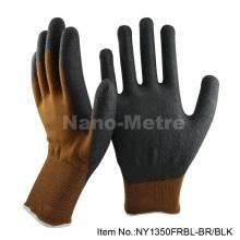 NMsafey luvas de trabalho marrons / 13g nitrilo espuma de segurança luvas boa resistência à abrasão