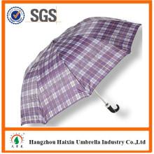 Billige 2 Falten Regenschirm mit krummen Griff