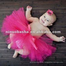 Vestido sólido infantil del tutú NW-257 del color de rosa caliente