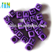 Solid purple back with black letter acrylic cube beads wholesale