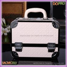 Blanco de color acolchado PU cuero de aluminio caso cosmético (sasc013)