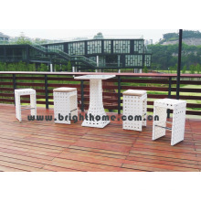 Taburetes de barra de mimbre al aire libre Mesa de la barra de la rota de 5PCS y sillas fijadas