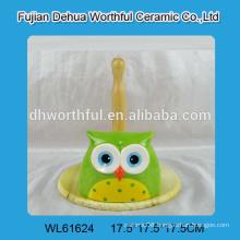 Lovely owl shaped ceramic tissue holder with wooden bottom