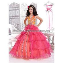 Halter V-neckline perlée rouge orange étagée sur mesure robe de bal jupe filles boucles d'oreille CWFaf4705
