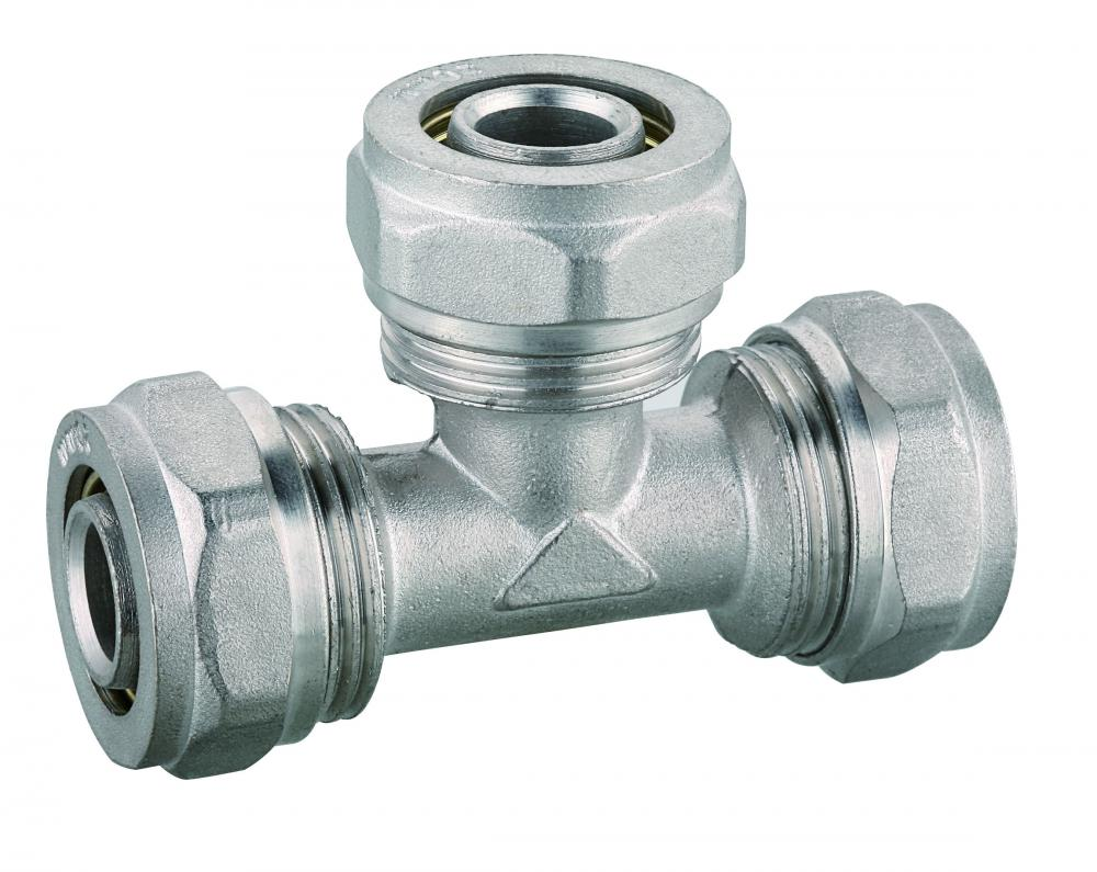 PEX pipe fitting forged brass equal tee