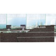 Muebles de madera de roble oscuro para recepción, Muebles de oficina para la venta (KM924)