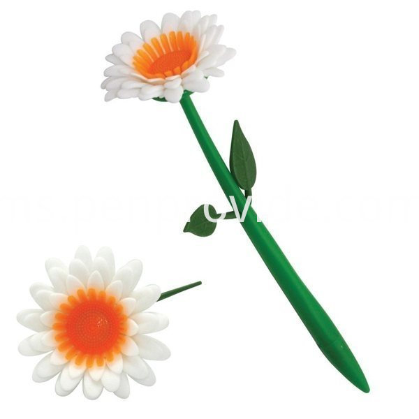 Custom Promotion Flower Pen_color-whiteorangegreen