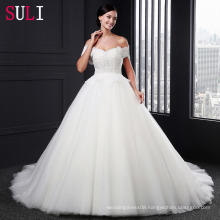 SL-005 Charming Sweetheart Tulle With Pearls Ball Gown Wedding Dress 2016