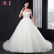 Сл-005 очаровательная милая тюль с жемчуг бальное платье свадебное платье 2016