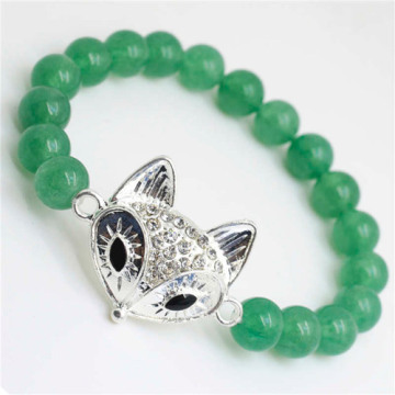 Green Aventurine Gemstone Bracelet with Diamante alloy Lizard Piece
