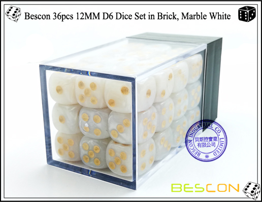 Bescon 36pcs 12MM D6 Dice Set in Brick, Marble White-2