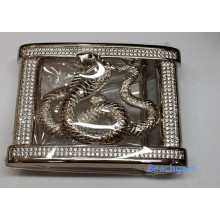 Chinese Zodiac Snake CZ Sterling Silver Belt Buckle for Man
