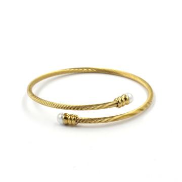 Jóias de ouro 14k pulseira de aço inoxidável torção braceletes pulseiras