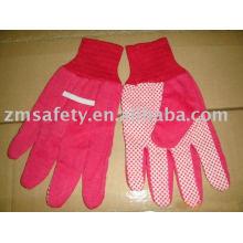 Красный цвет ПВХ точками хлопка перчатки сада