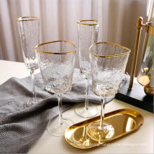 Hot Selling 410ml Crystal Glasses White Wine Glass Cups and Glassware, Golden Edge