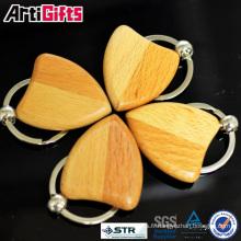 Wholesale souvenir blanc en bois porte-clés rond