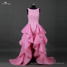 LZ172 Алибаба бисероплетение оборками розовый свадебное платье спереди короткие и длинные назад свадебное платье
