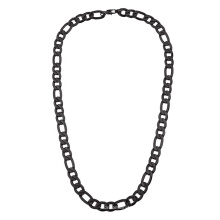Classic Hip-Pop 7mm 9mm 14mm Black Plated Stainless Steel Figaro Chain