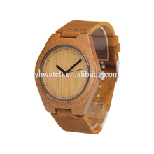 a Bamboo Case Stainless Steel Inner Case Genuine Leather Wooden Watches For Unisex