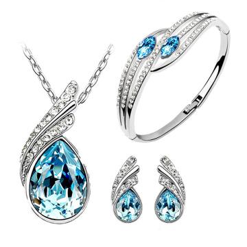 Conjunto azul de la joyería de plata del ajuste 925 del Topaz azul Wholesales