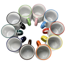2021 hot selling ceramic inside color 11oz  stoneware  white blanks mugs sublimation ceramic cups for sale
