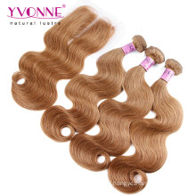 Color #8 Brazilian Hair Weave Bundles with Lace Closure
