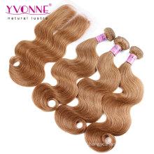 Pacotes do Weave do cabelo brasileiro da cor # 8 com fechamento do laço
