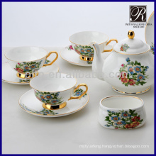 hot sale colourful flower with golden rim coffee set tea set