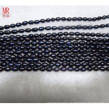 7-8mm schwarze Reis Süßwasserperlen (ES373)