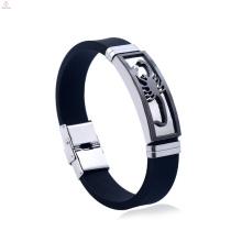 Bracelete de aço inoxidável do escorpião do silicone feito sob encomenda da jóia dos homens