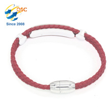 Well-designed red PU leather women bracelet with stainless steel