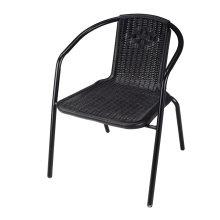 Outdoor Patio Furniture Rattan Look Stackable Plastic Furniture Chair
