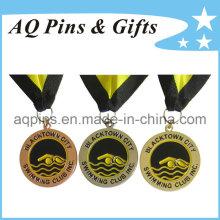 Zink-Legierungs-Medaillen mit weicher Emaille-Farbe für das Schwimmen Club