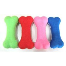 Green ,red,pink and blue chew bone