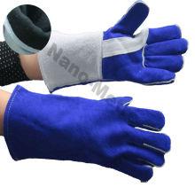 Luva de soldador de couro de vaca split NMSAFETY azul