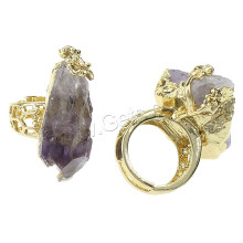 2015 Gets.com Natural Agate Druzy Finger Ring, Brass, with Agate, Nuggets, gold color plated, adjustable & hollow