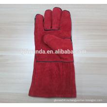 14 дюймов коровья раскол кожа перчатки сварщика AB класса с нитью kelvar
