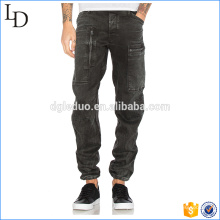 Drawcord jambe ouvertures noir jeans de poche côté hommes 2017 jeans de mode
