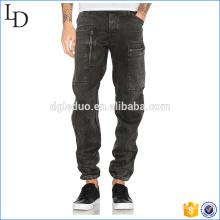 Aberturas de perna Drawcord calça jeans bolso do lado dos homens negros 2017 jeans moda