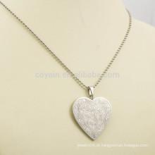 Aço inoxidável coração colar pingente prata gravável