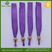 Custom Made Purple Satin Wristband with Metal Sliding Bead