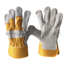 Full Palm Grey Cow Split Rogger Glove with Rubberized Cuff