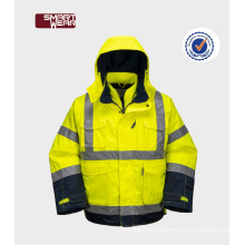 Construction security waterproof removable safety reflective uniforms construction workwear jacket