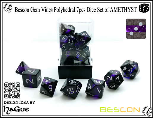 Bescon Gem Vines Polyhedral 7pcs Dice Set of AMETHYST-4