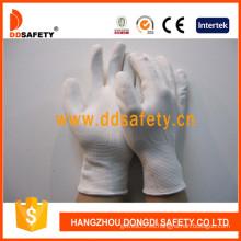 Guantes de trabajo de nylon revestidos de PU blanca (DPU100)