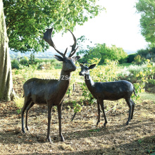 Bronze Garden Decorative Deer Sculpture For Sale