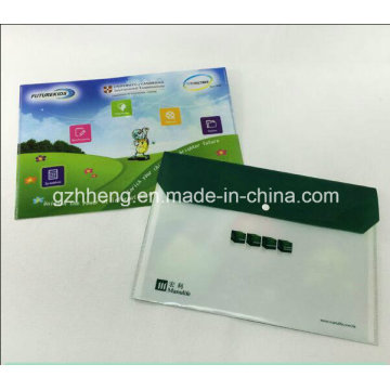 Color del OEM impreso documento A4 bolsa de transporte archivo carpeta plástica con cierre de botón