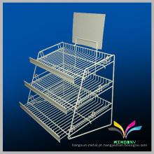 Exposição metálica desmontável suporte para metal de supermercado para vegetais e frutas