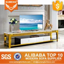 SUMENG мебель для гостиной современный стиль мраморный топ золотой нержавеющей стали подставка для телевизора