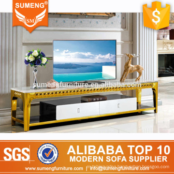 SUMENG living room furniture modern style marble top golden stainless steel tv stand